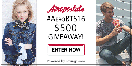 We've partnered with our friends at Aeropostale to give away $500 worth of Aeropostale gift cards to 10 lucky winners, plus get 30% off everything right now!