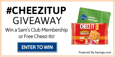 Get entered to win a Sam's Club Membership and tasty Cheez-It Sandwich Cracker snacks during our limited time giveaway!