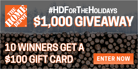 Enter to win a $100 Gift Card to Home Depot for all your holiday shopping this season!