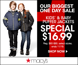 Macys 1 Day Kids Puffer Jacket 300x250 Macys One Day Sale November 2014: Thanksgiving Sale