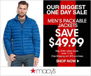 Macys 1 Day Mens Packable Jacket 300x250 Macys One Day Sale November 2014: Thanksgiving Sale