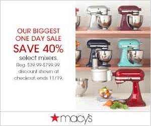Macys Mixers 300x250 Macys One Day Sale November 2014: Thanksgiving Sale