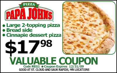 Today's top Papa John's coupon: Large 1-Topping pizza for $ See 40 Papa Johns Promo Code and Coupons for December App Login or Register, Deal Alert.