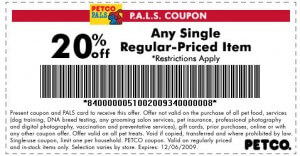 Site and storewide sales at Petco will save you up to 40 percent off regular price merchandise and 70 percent off clearance items. Online, they offer an auto-delivery program for food, which qualifies for free shipping and up to 20 percent off every month. You can save in store with Pals Rewards and coupons from your local weekly ad.