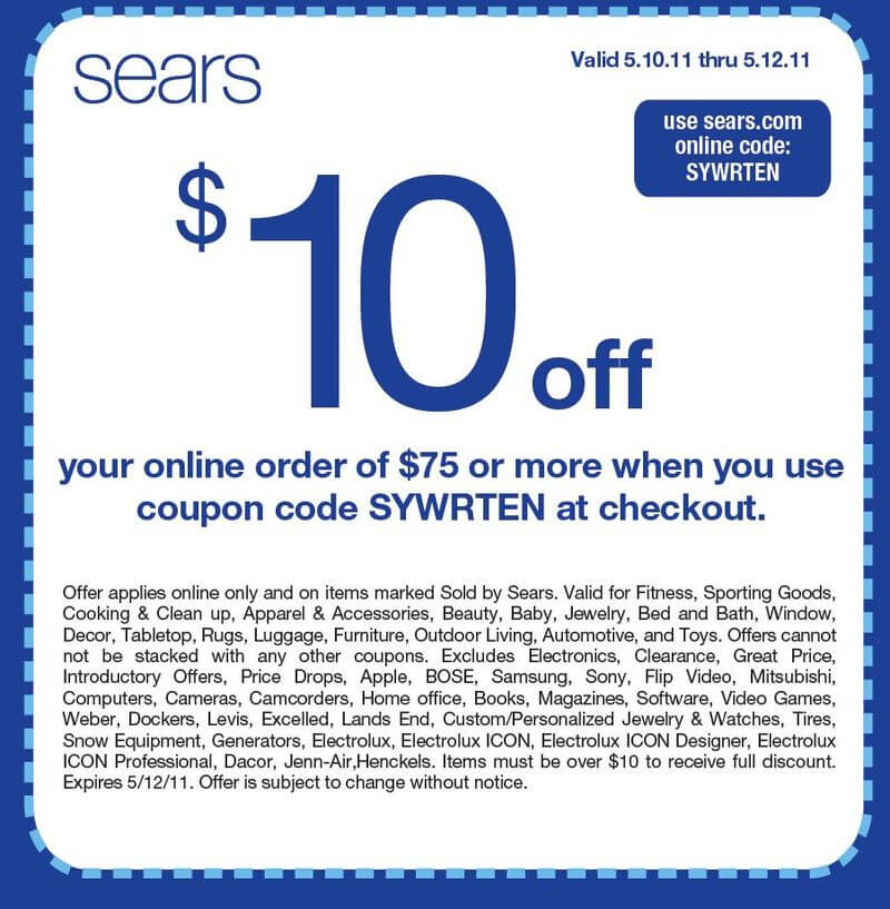 Discount coupons for sears automotive