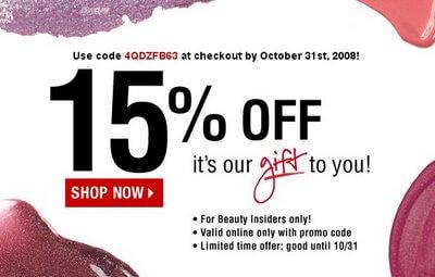 Sephora promo code 15% off