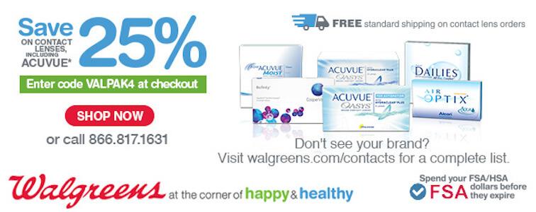 Save 25% on contact lenses at Walgreens