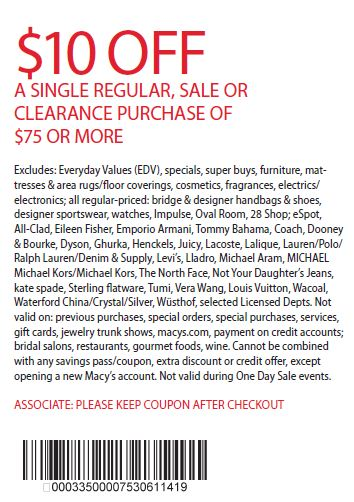 Printable: $10 off Your Single Purchase of $75 or More