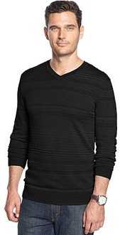 69% off Slim-Fit V-Neck Textured Alfani Sweater for Men, Now $21.99