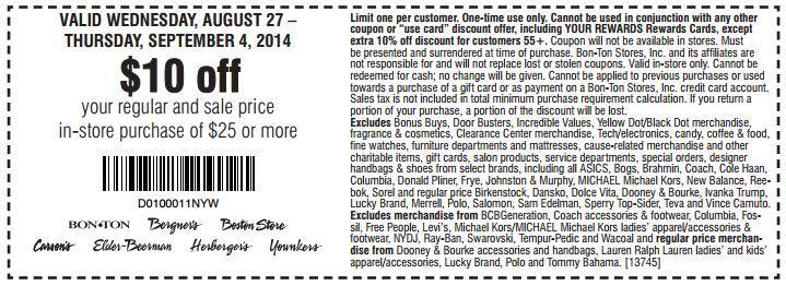 Printable: $10 off Regular & Sale Price Orders $25 or More