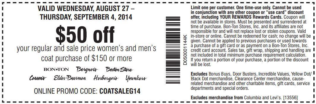 Printable: $50 off Select Women's & Men's Coat Orders $150 or More