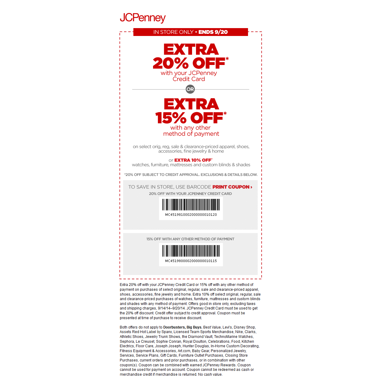 Printable - 20% off Entire Order - Must Use Store Card