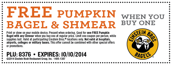 Free Pumpkin Bagel & Shmear when You Buy One