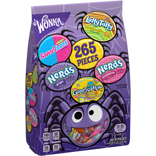 WONKA Halloween Assorted Candy, 265 Count, 71 oz for $13.88
