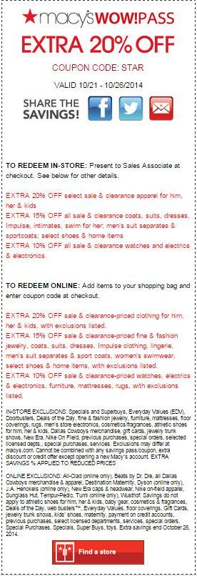 Printable: Extra 10%-20% off Most Departments Site Wide