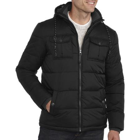 George UK Men's Hooded Bubble Jacket With Soft Knit Collar for $41.99