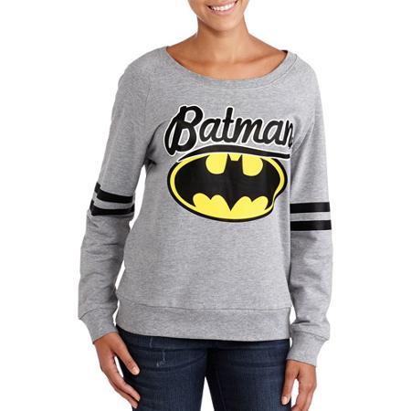 Juniors Batman Athletic Stripe Long Sleeve Sweatshirt for $12.88