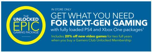 In-Store: 20% off New Video Games on Gamers Club Unlocked Membership