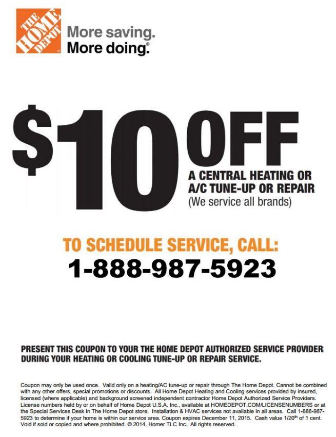 In-Store: Save $10 on Central Heating or A/C Tune Up or Repair Services