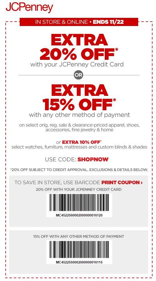 In Store: Extra 20% off Using Store Credit Card