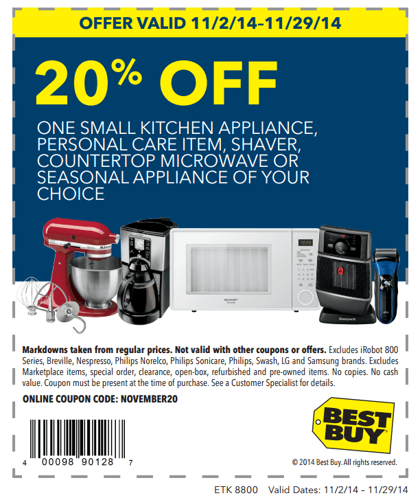 Printable:20% off 1 Small Kitchen Appliance, Personal Care Item & More