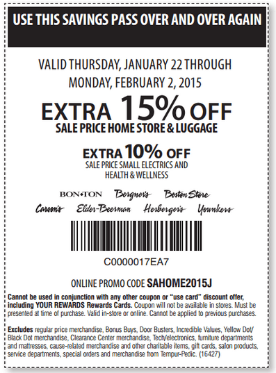 Printable: Extra 15% off Sale Price Home Store & Luggage