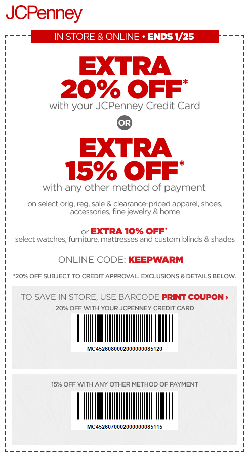Printable: Extra 20% off All Orders W/ Store Credit Card