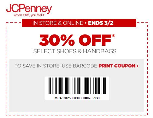 Printable: 30% off Shoes & Handbags Purchase