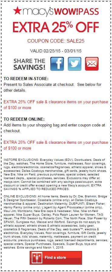 Printable: Extra 25% off Sale & Clearance Item Orders $100 or More