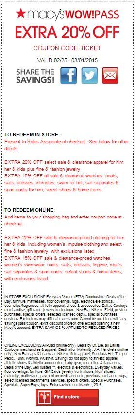 Printable: Extra 15%-20% off Most Departments Site Wide
