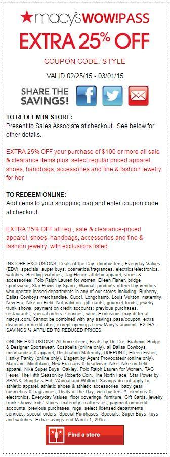Printable: Extra 25% off The Ultimate Wardrobe Sale Orders $100+