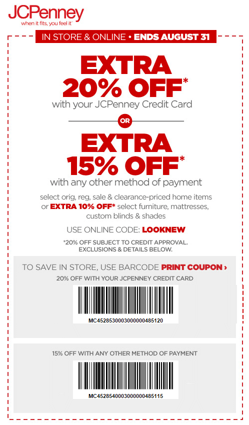 Printable: Extra 20% off Home Items Orders W/ Store Credit Card
