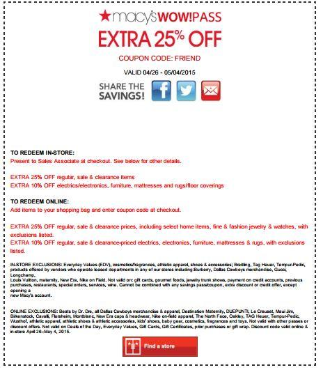 In-Store Friends & Family Sale: Extra 10-25% off Most Categories