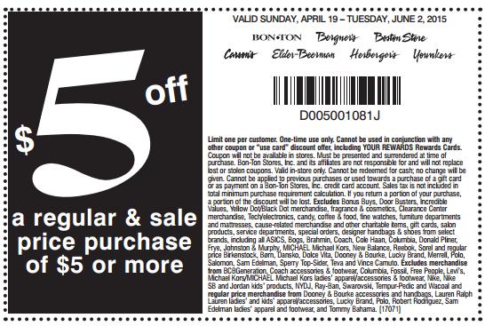 Printable: $5 off Regular & Sale Priced Orders $5 or More