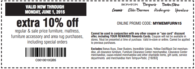 In-store: 10% off Regular & Sale Priced Mattress, Furniture and More
