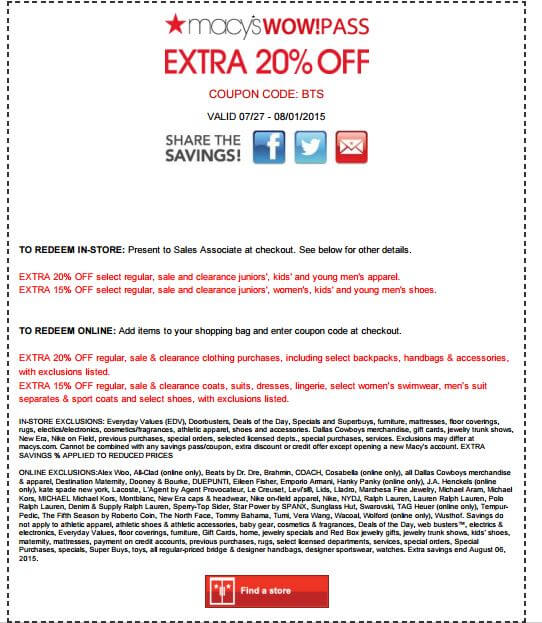 Printable Extra 15-20% off Most Categories