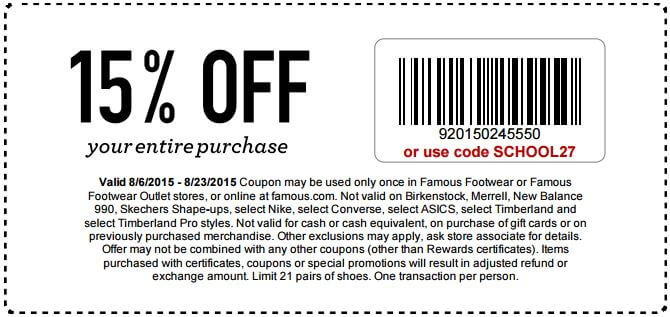 Famous brand footwear coupons