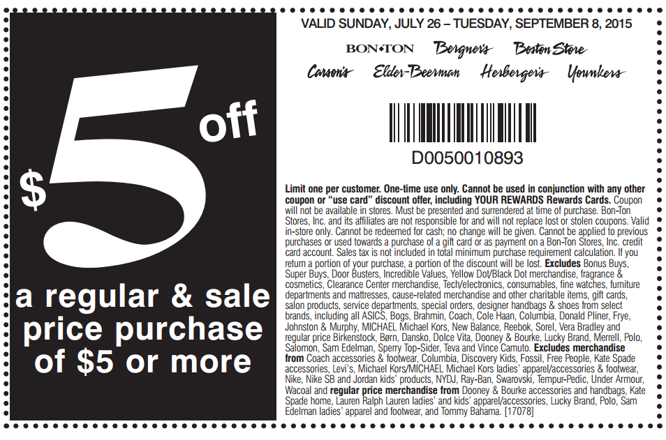 In-Store: $5 off on Orders of $5 or More
