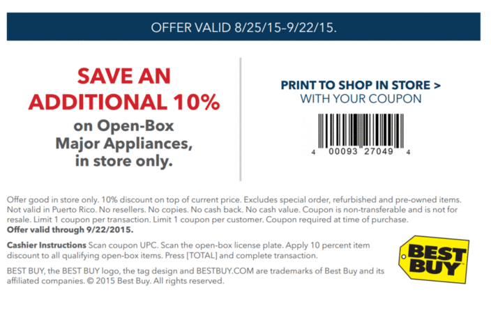 Printable: 10% off Open-Box Major Appliances
