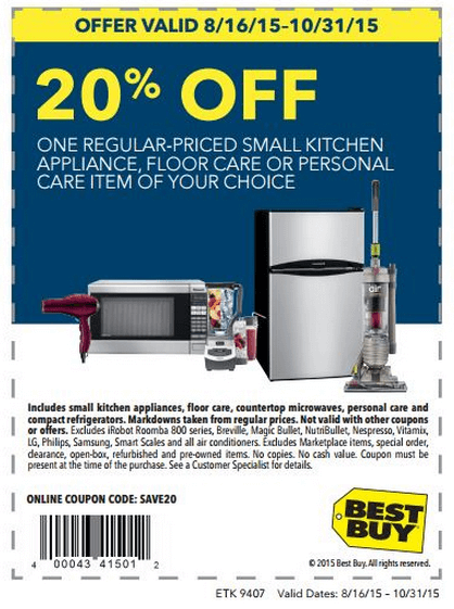 Printable: 20% off Regular-Priced Small Kitchen Appliance & More