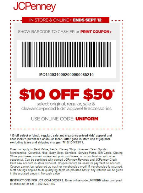 Printable: $10 on Select Kids' Apparel & Accessories Order $50 or More