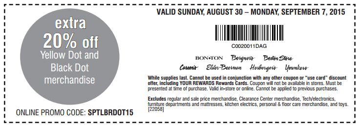 Printable: Extra 20% off Yellow Dot or Black Dot Merchandise