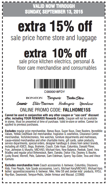 Printable: Extra 15% off Sale Price Home Store and Luggage