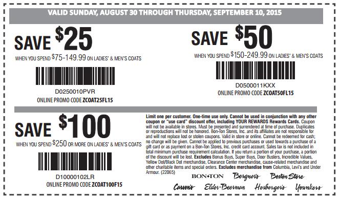 Printable: $50 off Orders $150-$249.99 on Men's & Women's Coats