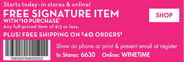 Printable: Free Signature Item with $10 Purchase