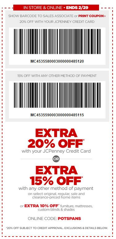 Printable: 20% off Home Items with JCPenney Card