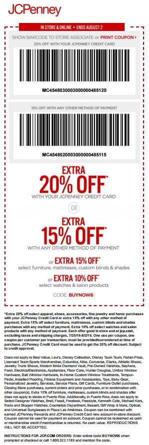 Printable: Extra 20% off Most Orders with JCPenney Credit Card