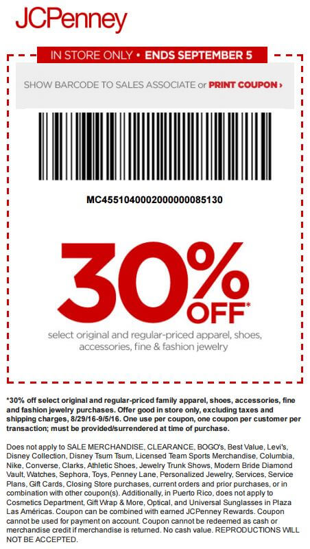 Printable: 30% off Select Apparel, Shoes, Accessories & Jewelry