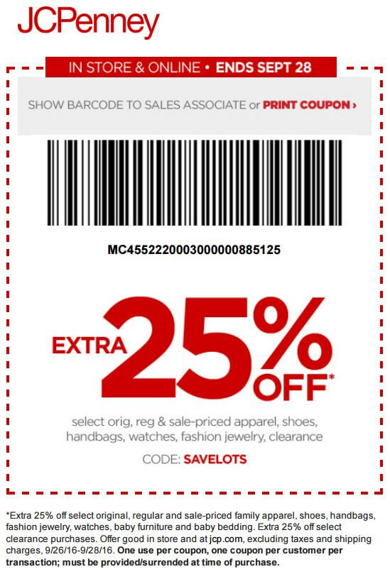 Printable: Extra 25% off Select Apparel, Accessories & Clearance Items
