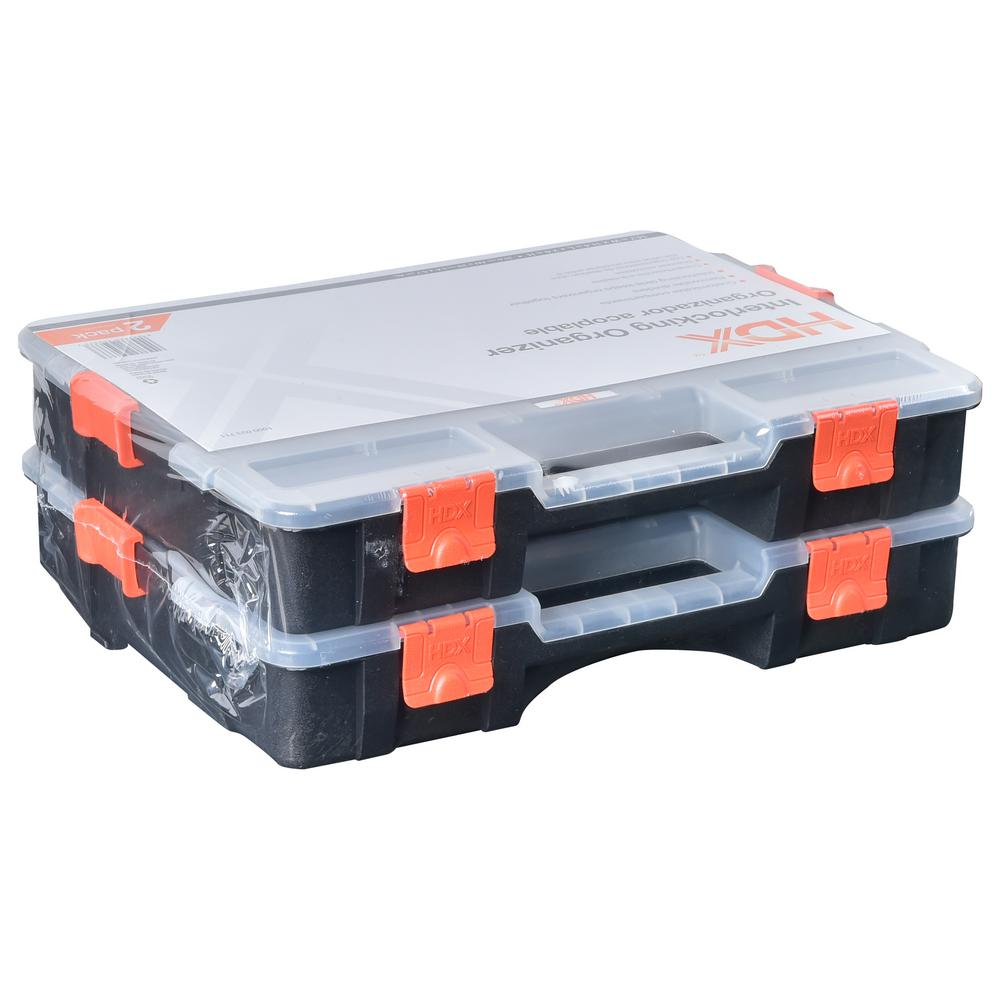 15-Compartment Interlocking Small Parts Organizer Black (2-Pack)